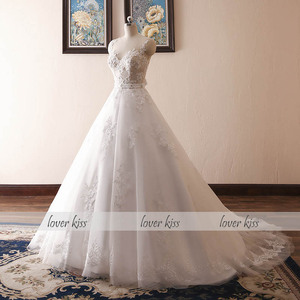 Image 2 - Lover Kiss Vestido De Noiva 2020 Ball Gown Wedding Dress Lace Pearls Sleeveless O Neck Sashes Real Bridal Gowns Bride Dress