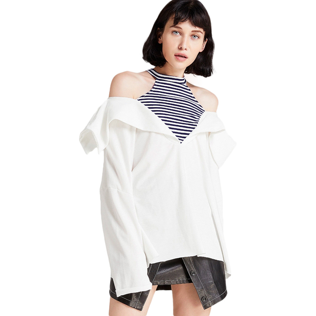 a8708d1fbfef19 Two-in-one long sleeve spliced fold over cold shoulder shirts for women  ladies stylish white black striped halter neck blouses