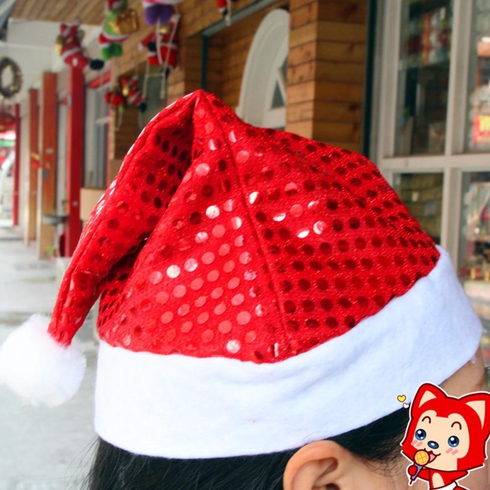 Kopfbedeckungen Für Herren Liefern Kind Erwachsene Hut Glitter Pailletten Bommel Ball Santa Claus Cap Kostüm Weihnachten Geschenk