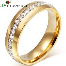 Elegant Rose Brand Jewelry 18K Real Gold Plated Women/Men Ring With Hip-Hop AAA+ CZ Imitation Diamond Engagement Rings R943