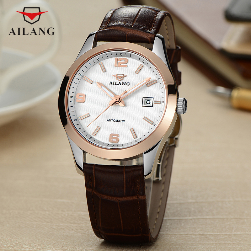 Здесь продается  AILANG Men Automatic Watches Male Atmos Clocks Thin Real Leater Band Mechanical Watch Gold Silver Men Available A074  Часы
