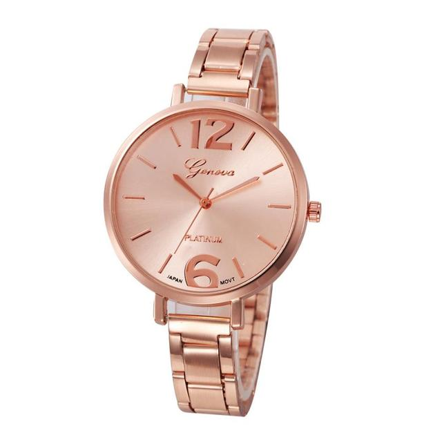 Geneva Luxury Brand Women Stainless Steel Bracelet watches Fashion Ladies Quartz