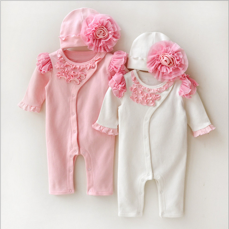b98f8f1db0f Princess Newborn Baby Girl Rompers Lace Flowers Jumpsuit +Hats Girls  One-piece Clothes Set for Infant Body Suits
