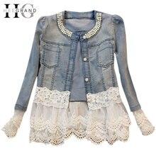 HEE GRAND Jeans Jacket Women Casacos Feminino Slim Lace Patchwork Beading Denim Lady Elegant Vintage Jackets Coat WWJ084