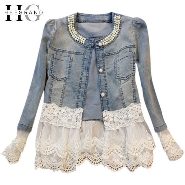 HEE GRAND Jeans Jacket Women Casacos Feminino Slim Lace Patchwork Beading Denim Lady Elegant Vintage Jackets Coat WWJ084