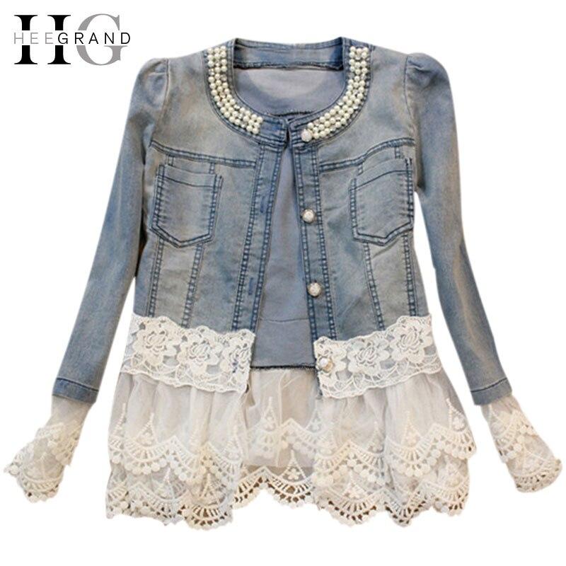 Hee grand jeans chaqueta mujeres casacos feminino delgado abalorios remiendo del