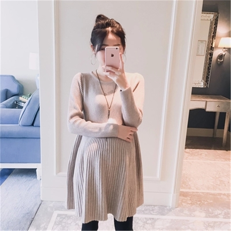 Maternity Dresses Female Clothes For Pregnant Women Winter Sweater Vestido Gestante Pregnancy Clothes Knitted Dress New 70R0170 maternity clothes fall pregnant women sweater knitting dress autumn winter knitted female loose warm pullover cute lady dresses
