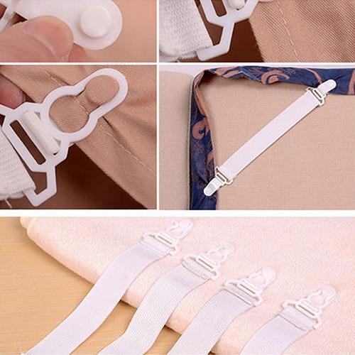 4Pcs/Set Bed Sheet Mattress Blankets Elastic Grippers Fasteners Clip Holder
