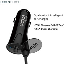 ICONFLANG USB Car Charger 2.1A Fast Car-Charger Adapter For iPhone 7 6 Smart Mobile Phone Charger, With 1.2m Cable For iPhone