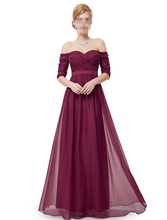 Bridesmaid Dresses Half Sleeve Long Red Prom 2017 New Style Fashion Women Wedding Party