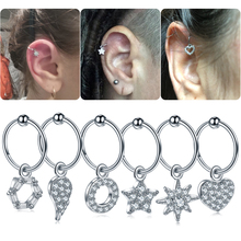 1Pc DIY 6 Styles Steel Cz Dangle Hoop Cartilage Earring Helix Tragus Rook Lobe Ear Stud Helix Nose Piercing Hoop Sexy Jewelry цена в Москве и Питере