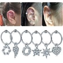 1Pc DIY 6 Styles Steel Cz Dangle Hoop Cartilage Earring Helix Tragus Rook Lobe Ear Stud Nose Piercing Sexy Jewelry