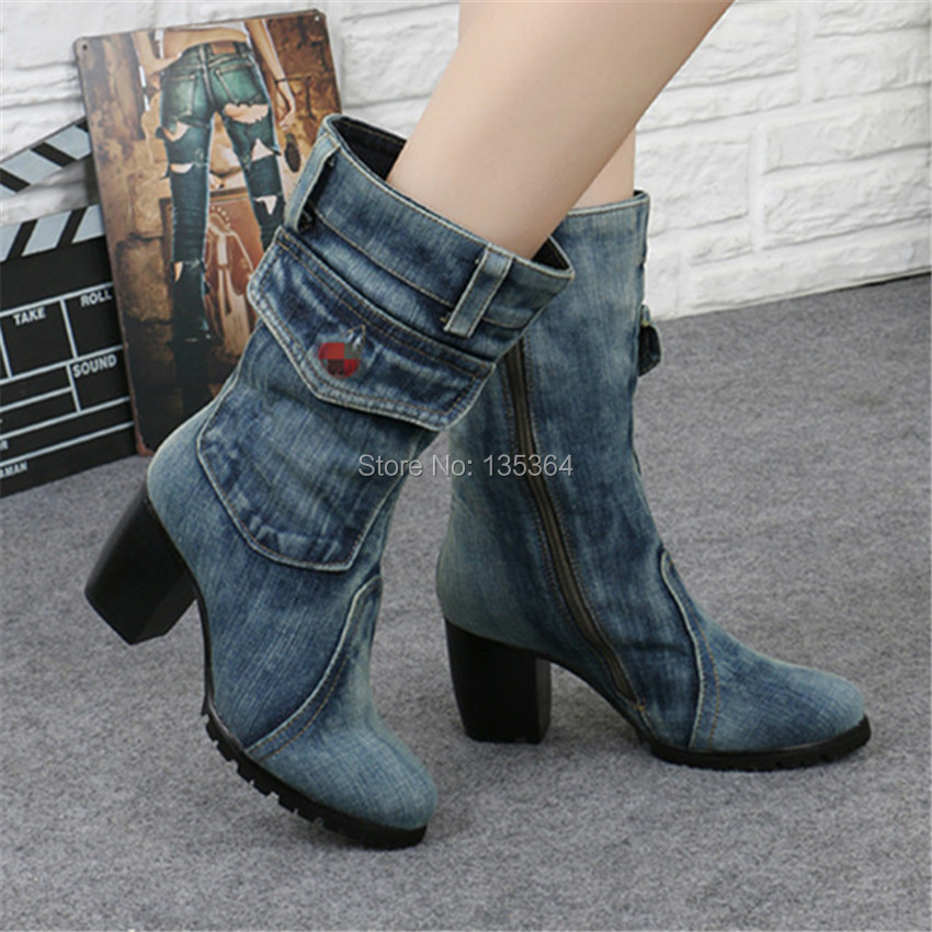 Fashion New Hot Sale Zipper Square High Heel Winter Boots Washed Denim Mid Calf Round Toe Boots Non-Slip Cool Casual Shoes Women hot sale autumn winter shoes round toe fashion ankle women boots sheepskin all match square high heel