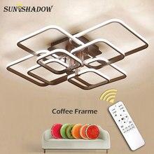 White & Coffeeแหวนโมเดิร์นโคมไฟระย้าLEDสำหรับห้องนั่งเล่นห้องนอนโคมไฟเพดานโคมระย้าโคมไฟอะคริลิคLEDโคมไฟ