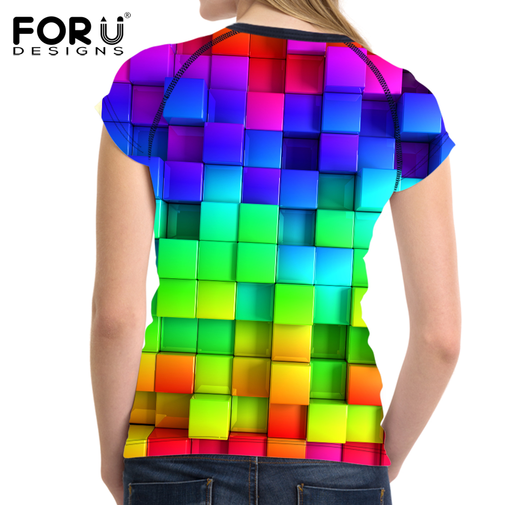 FORUDESIGNS Bright Mixed Color T-Shirt til kvinder Stilfuld Lady - Dametøj - Foto 2