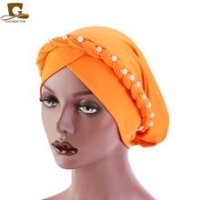 New African Style Women Beaded braid  Bandanas Headwear Cap Muslim Turban Hair Accessories Fashion Ladies Chemo