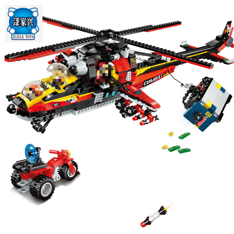 Building Block City Police Ghost Recon Helicopter Model 5 Figures 654pcs MOC Enlighten Educational Bricks Toy Gift of Lepins police pl 12921jsb 02m