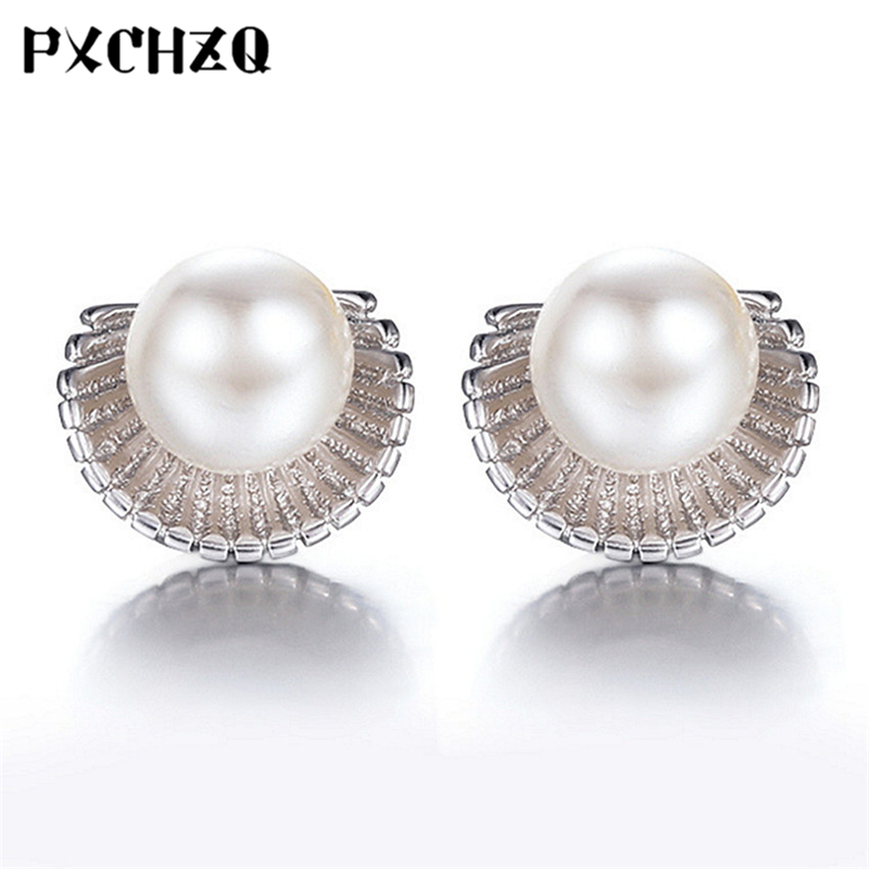 Silver Plated Earrings Ms. Temperament New Marine Shell Imitation Pearl Earrings Fashion Jewelry Princess