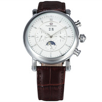 2016 Mens Watches Top Brand Luxury Automatic Moon Phase Auto Date 6 Pin Dial Leather Strap
