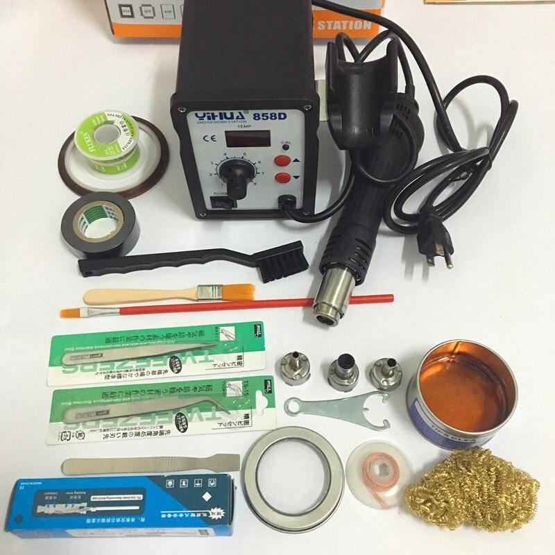YIHUA ES / USA kištukas 650W 858D ESD litavimo stotelė LED skaitmeninė litavimo geležis Karšto oro pistoleto suvirinimo platforma 110V / 220V