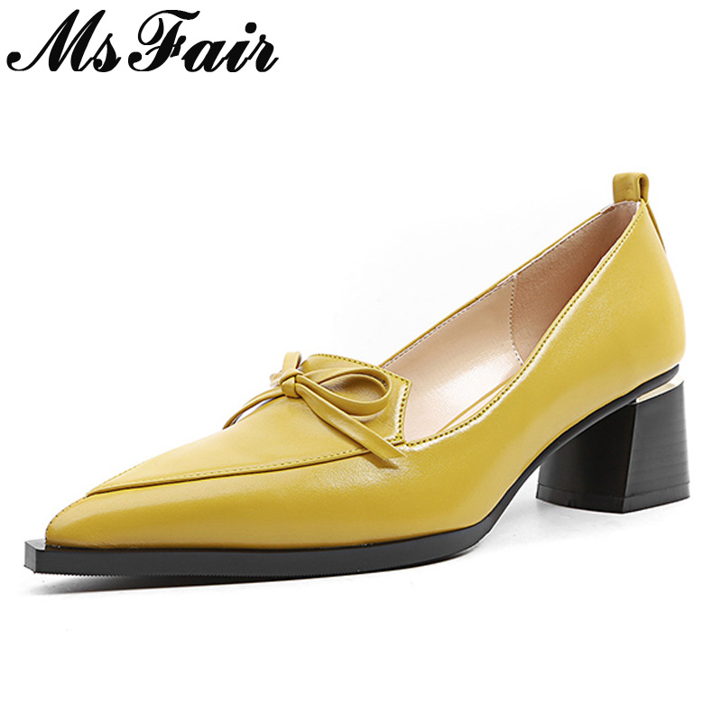 Talon Profonde Nouvelle Pointu Femmes Pompes Casual Noeud Mode Beige jaune Msfair Carré noir Bout Papillon Peu Dames Med 2018 AEFwcqA4