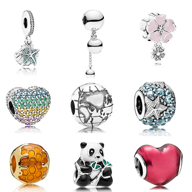 New Silver Color Beads Fit Pandora Bracelets Pink Gift Necklace Original Mickey Lovely Panda Yellow Pendant Girl Flower Jewelry(China)