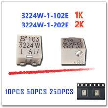 10 pces 50 pces 250 pces 3224w-1-102e 3224w-1-202e 1 k 2 k orighinal ohm smd trimmer potenciômetro conector 3224 w 3224 202e 102e