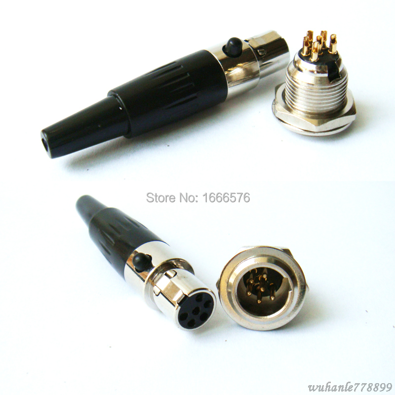 wholesale 50 set Connector Mini XLR Socket 3 4 5 6 Pin Cable Inline Plug with 50pcs female xlr connector 50pcs mini socket in Connectors from Lights Lighting