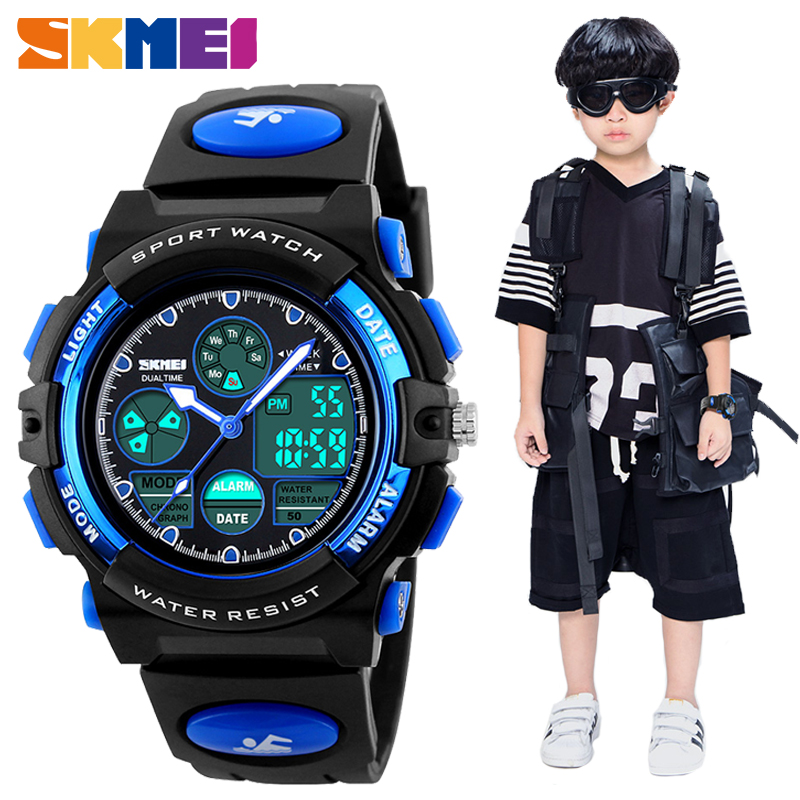 SKMEI Fashion Kids LED Digital Watches For Boys Girl Sport 5Bar Waterproof Wristwatches Smart PU Strap Children Montre Enfant
