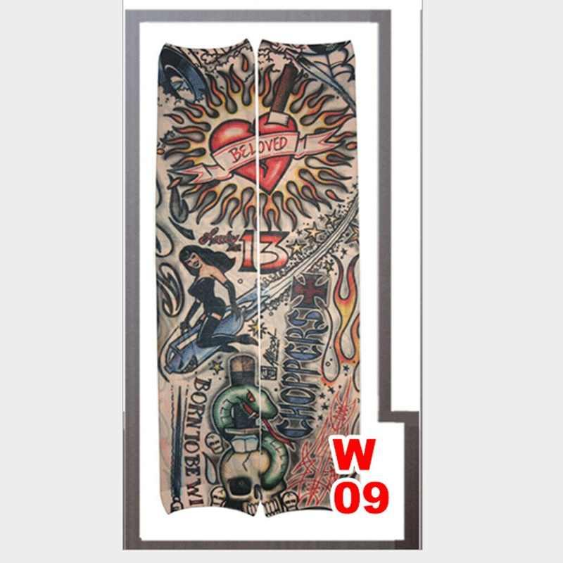 Nuevo caliente Unisex brazo para hombres y mujeres manguito tatuaje temporal manga UV guantes con protección solar manga para bicicleta cubierta tatuaje calentadores de brazo