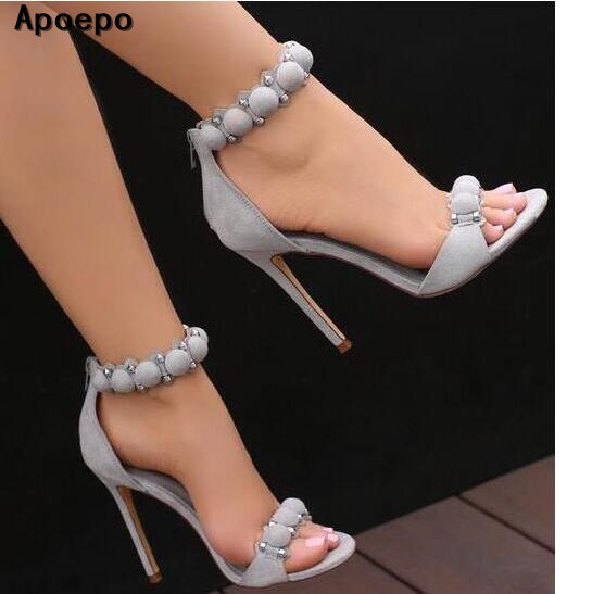 Apoepo Brand Sexy Open Toe Woman Sandal 2017 Summer Ankle Strap High Heel Sandal Rivets Studded Thin Heels Gladiator Sandal  summer newest woman sandal thin heels high heel shoes 2017 solid red leather ankle buckle strap sandals rivets studded shoes