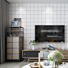 Nordic style wallpaper ins TV background black and white lattice square geometry bedroom living room modern minimalist