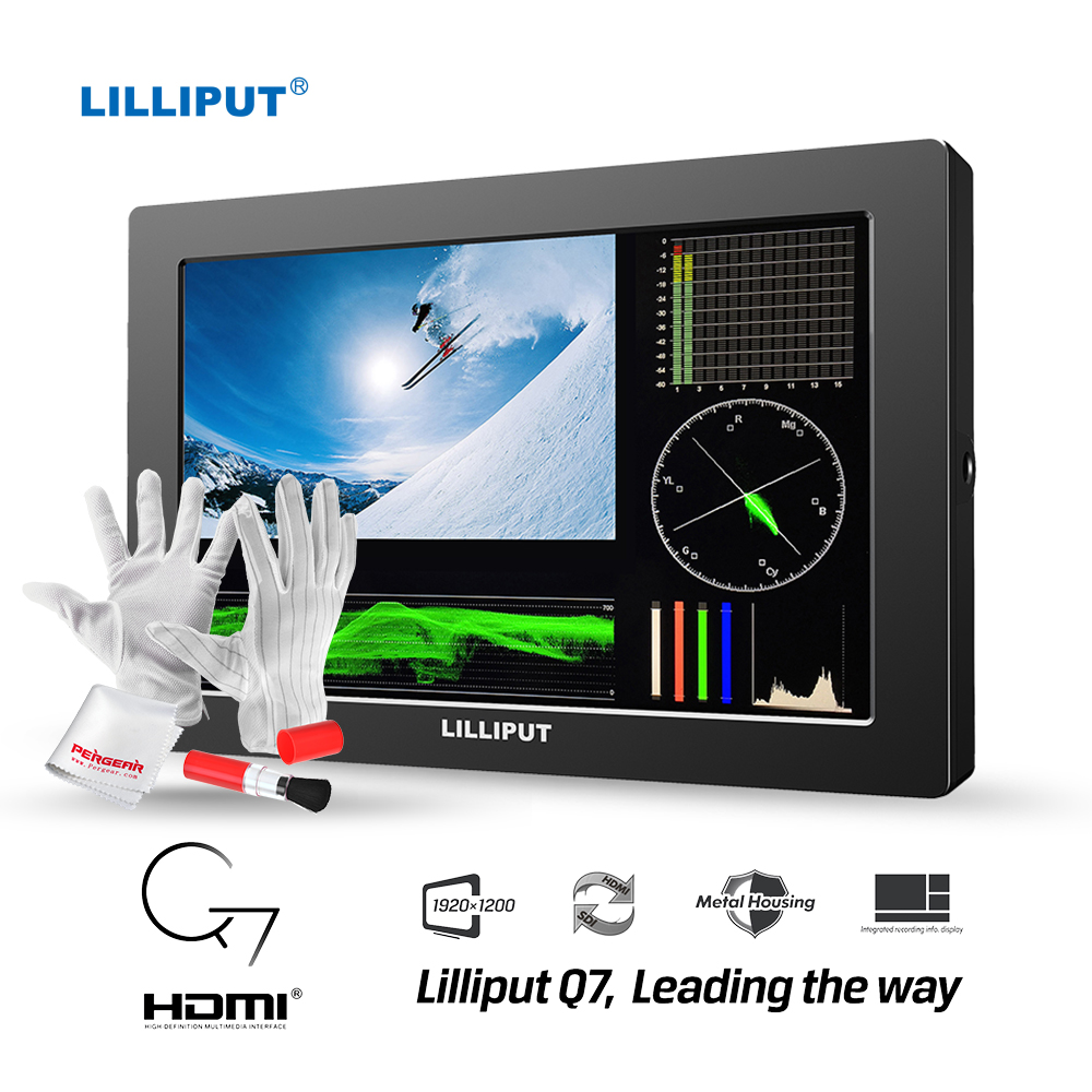 LILLIPUT Q7 7 Field Monitor 1920x1200 HD Cross Conversion 3G-SDI HDMI w/ Advanced YRGB Peak/Time Code/Waveform /Vector Scope lilliput 663 s2 7 inch led field monitor with 3g sdi hdmi ypbpr via bnc composite video and sun hood optimised for full hd
