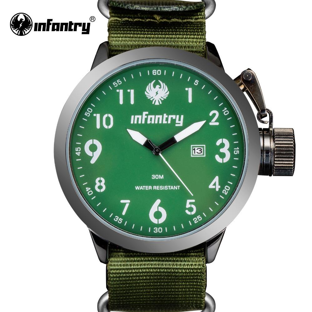Prix pour INFANTRY Montre Vert Armée Hommes Sport Montres Quartz Relogio Militaire G10 Sangle En Nylon Auto Date Relojes Deportivos 2017