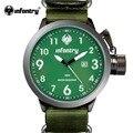 Relógio infantry mens sports relógios quartz relogio g10 militar do exército verde nylon strap auto data relojes deportivos 2017