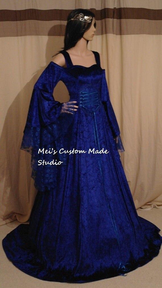 Zakázková královská modrá středověká ruční fantasy divadelní šaty / viktoriánský a Tudor kostým
