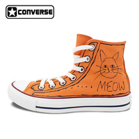 Original Converse All Star Boys Girls Shoes Meow Graffiti Design Custom Hand Painted Shoes Women Men Sneakers Orange Shoes