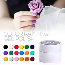 In Stock Color Gel Paint Solid Pure Glitter Black UV Soak Off Gel Builder Gel Nail Art French Tips Nail Design Free Shipping