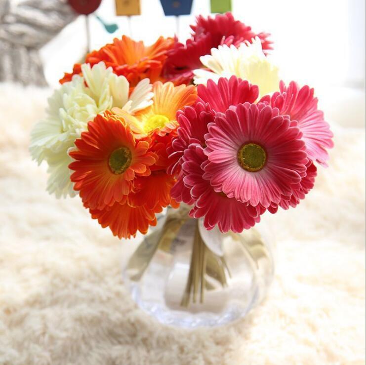 1 Bouquet Cheap Pu Artificial Gerbera Flowers Real Touch Fake Flower