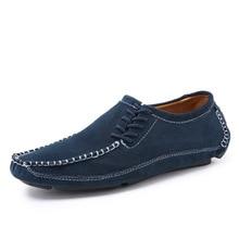 Classic Comfortable Men Casual Shoes Loafers Men Shoes Quality Split Leather Shoes Flats Mens Moccasins Boat Shoes Plus Size цена