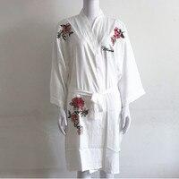 White embroidery flower robe 2pc Ladies' Sexy Satin Robe Dress Gown Women Nightgowns Kimono Lady Bathrobe Nightdress SIZE L XL