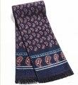 Marca de lujo de los hombres de invierno bufanda bufanda de cachemira color de la marina de orange real bufandas del patrón de flor para el regalo de navidad