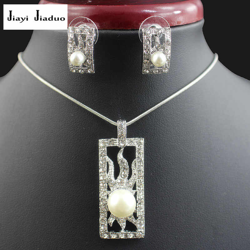 jiayijiaduo Bridal imitation pearl pendant jewelry sets for women white color necklace earrings party dress gift love wedding