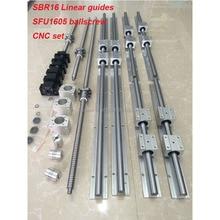 6 компл. SBR16 линейная направляющая+ шариковые винты RM1605 SFU1605 шариковый винт+ BK/BF12+ гайка Корпус+ муфты для ЧПУ частей