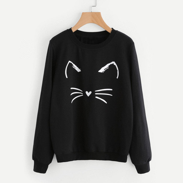 2019 Kawaii Cat Emotion Sweatshirts Womens Black Hoodie Long Sleeve Casual  Hooded Coat Pullover Tops d787eb458710