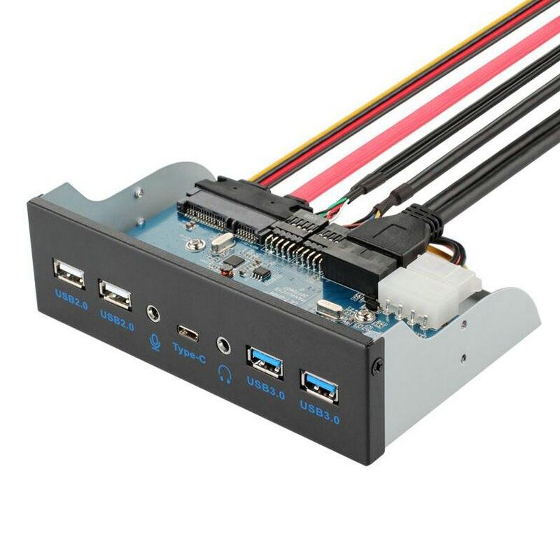 7 Port USB 3.1 TYPE-C USB 3.0 HUB Panneau Avant avec 3.5mm Audio + TYPE C + USB3.0 + usb 2.0 Support pour Pc De Bureau 3.5 Floppy