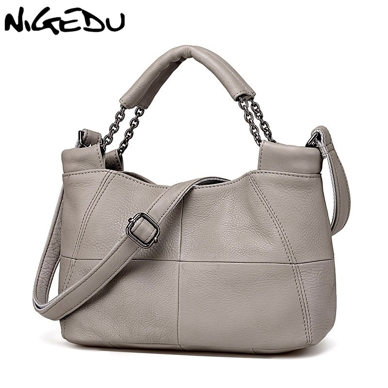 NIGEDU Merk Draagtas Kwaliteit Echt Leer Vrouwen Handtassen 2019 nieuwe Emmer tas bolsa feminina Koeienhuid vrouwen schoudertas-in Top-Handle tassen van Bagage & Tassen op  Groep 1