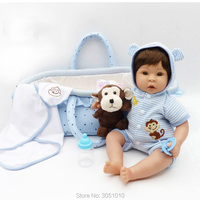 2019 New Style With Plush Toy Blue Clothes Adora Doll Lovely Cute Cotton Body Silicone Babies For Girl Boneca Toy Gift