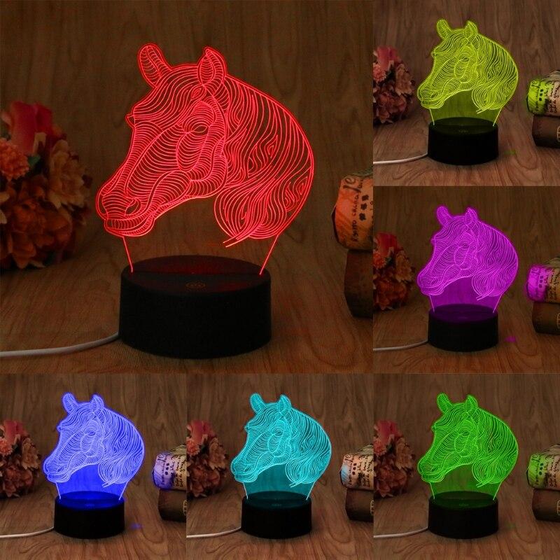 USB Novelty 7 Colors Changing Animal Horse LED Night Light 3D Desk Table Lamp Magic Night Light #20/18L
