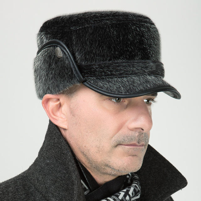The New Imitation Mink Thick Flat Cap In Old Men s Hat Old Man Winter Warm  Hat f2974b09eb7